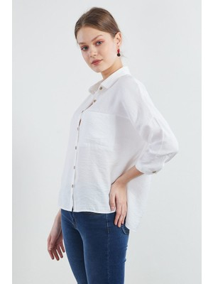 Pera Club Fakir Kol Oversize Beyaz Gömlek