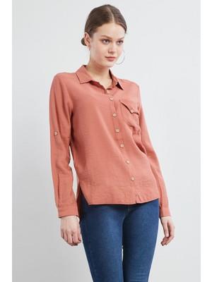 Pera Club Cep Detaylı Kiremit Gömlek