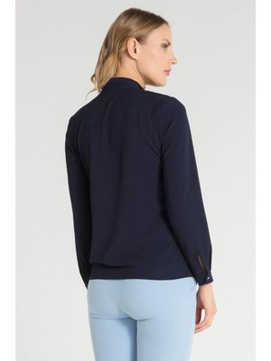 Pera Club Fularlı Lacivert Gömlek