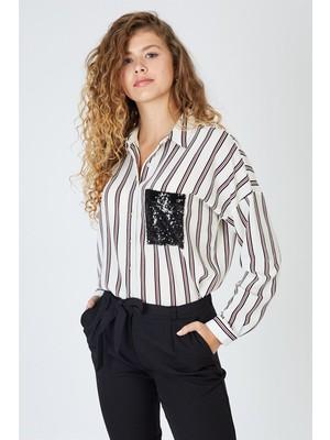 Pera Club Pullu Cep Detaylı Çizgili Beyaz Gömlek