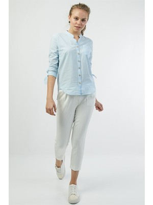 Pera Club Kolu Bağlama Detaylı Açık Mavi Gömlek