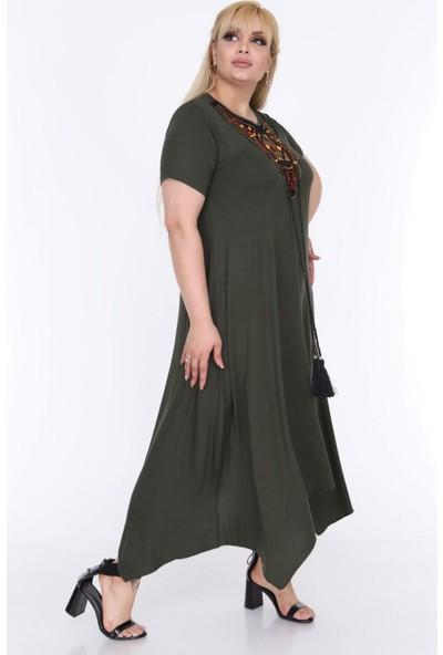 1fazlası Kadın Büyük Beden Etnik Desen Detaylı Bohemian Tarz Elbise