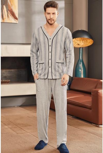 By Mecit 2758 Gri Büyük Beden Erkek Pijama Takımı