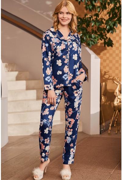 By Mecit 5250 Önden Düğmeli Çiçekli Kadın Pijama Takımı