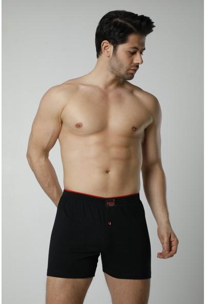 HMD Erkek Pamuklu Siyah Düğme Detay Likralı Boxer& Rahat Doku