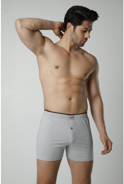 HMD Erkek Pamuklu Gri Düğme Detay Likralı Boxer& Rahat Doku