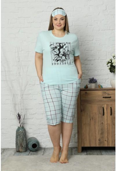 Mossta Büyük Beden Kısa Kol Kapri Pijama Takım