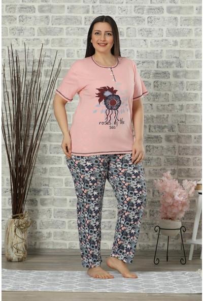 Mossta Kısa Kol Battal Beden Pijama Takım Pembe