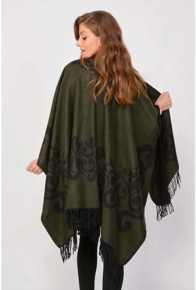 Mossta Kadın Çift Taraflı Şal Panço Koyu Yeşil