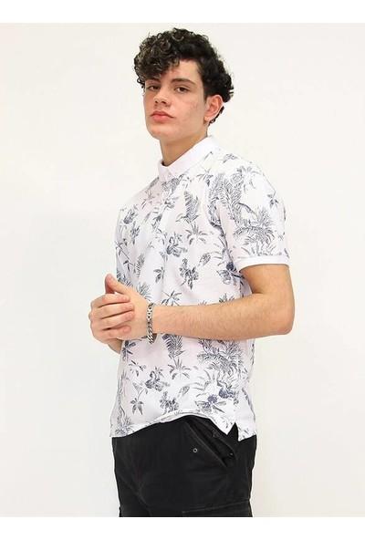 Rodrigo Beyaz Baskılı Erkek Polo Yaka Tshirt (Beyaz)