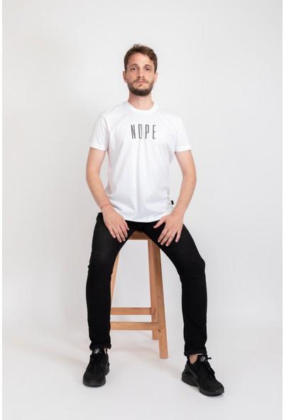 I And Basic Beyaz %100 Organik Pamuklu Basic Erkek Tişört / Nope XL