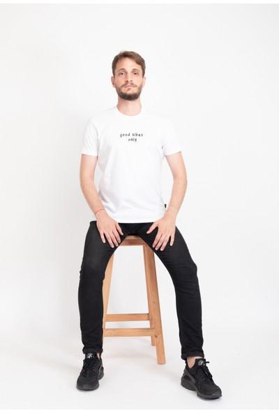 I And Basic Beyaz %100 Organik Pamuklu Basic Erkek Tişört / Good Vibes Only XS