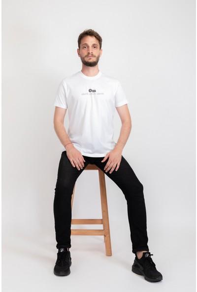 I And Basic Beyaz %100 Organik Pamuklu Basic Erkek Tişört / Om Santih M