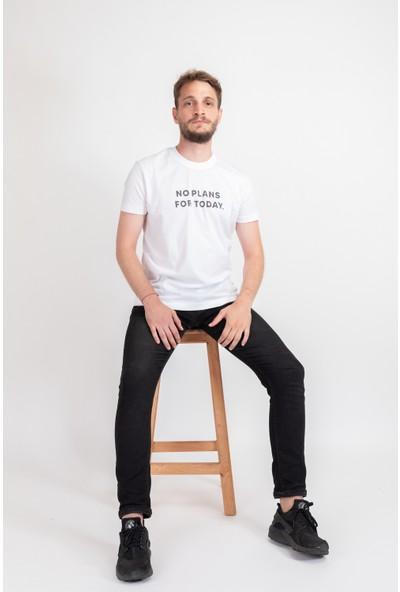 I And Basic Beyaz %100 Organik Pamuklu Basic Erkek Tişört / No Plans For Today S