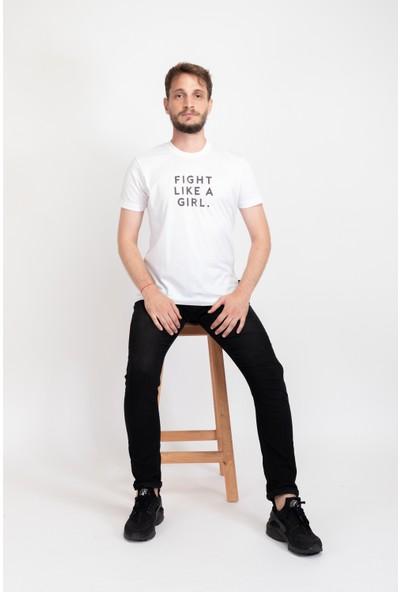 I And Basic Beyaz %100 Organik Pamuklu Basic Erkek Tişört / Fight Like A Girl S