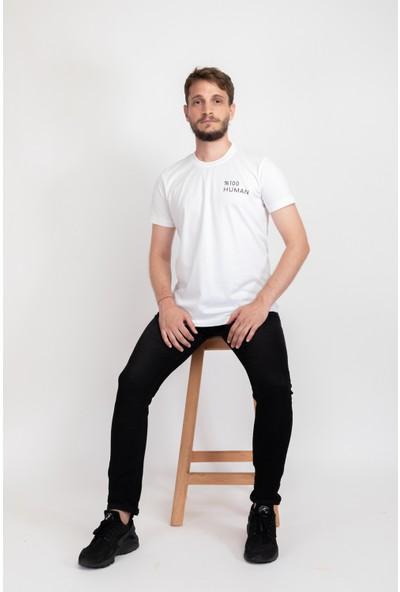 I And Basic Beyaz %100 Organik Pamuklu Basic Erkek Tişört / %100 Human S