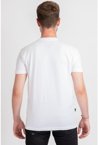 I And Basic Beyaz %100 Organik Pamuklu Basic Erkek Tişört / 90's S