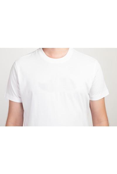 I And Basic Beyaz %100 Organik Pamuklu Basic Erkek Tişört XS