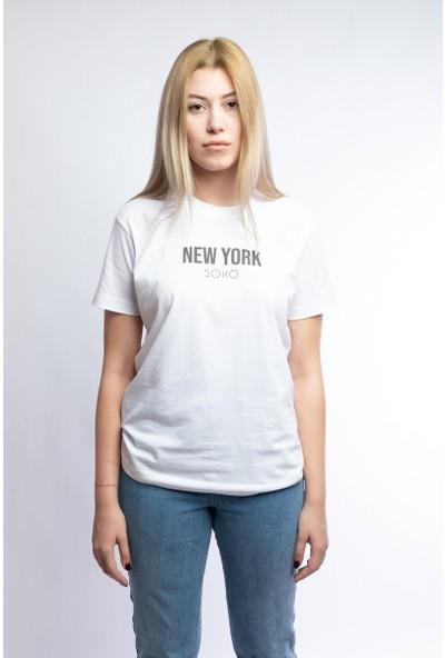 I And Basic Beyaz %100 Organik Pamuklu Basic Kadın Tişört / New York Soho L