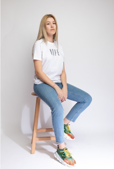 I And Basic Beyaz %100 Organik Pamuklu Basic Kadın Tişört / Nope S