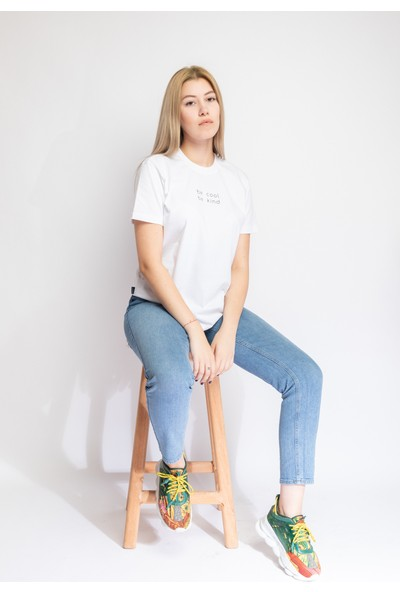 I And Basic Beyaz %100 Organik Pamuklu Basic Kadın Tişört / Be Cool Be Kind M