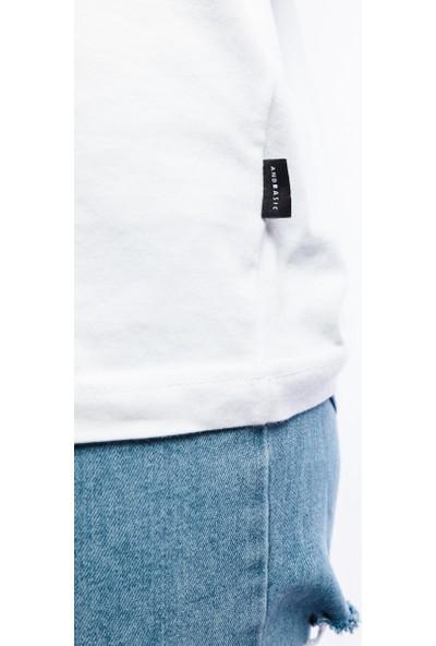 I And Basic Beyaz %100 Organik Pamuklu Basic Kadın Tişört / Good Vibes Only XL