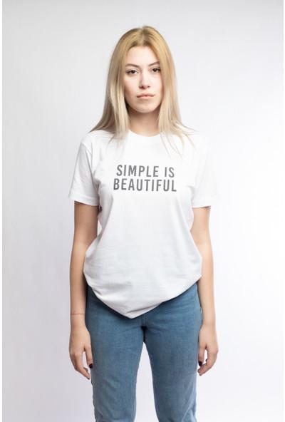 I And Basic Beyaz %100 Organik Pamuklu Basic Kadın Tişört / Simple Is Beatiful S