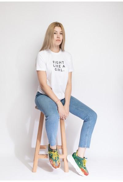 I And Basic Beyaz %100 Organik Pamuklu Basic Kadın Tişört / Fight Like A Girl M