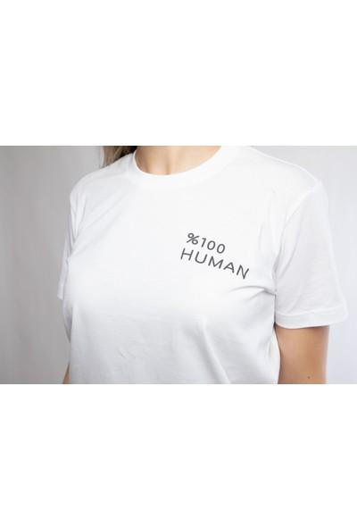 I And Basic Beyaz %100 Organik Pamuklu Basic Kadın Tişört / %100 Human XL
