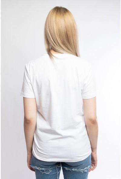 I And Basic Beyaz %100 Organik Pamuklu Basic Kadın Tişört / Make It Happen L