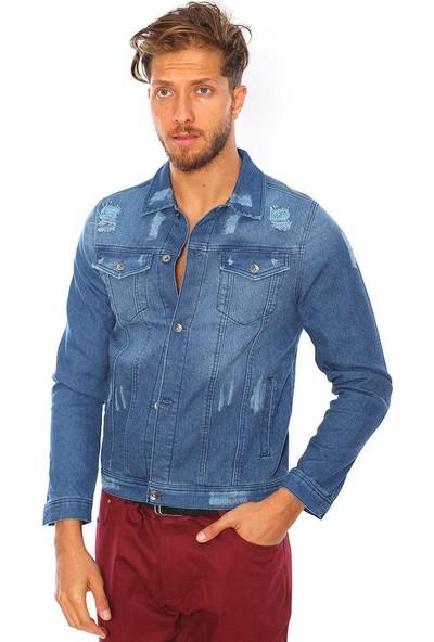 Youtwo Baskılı Mavi Kot Ceket Düğmeli Slim Fit
