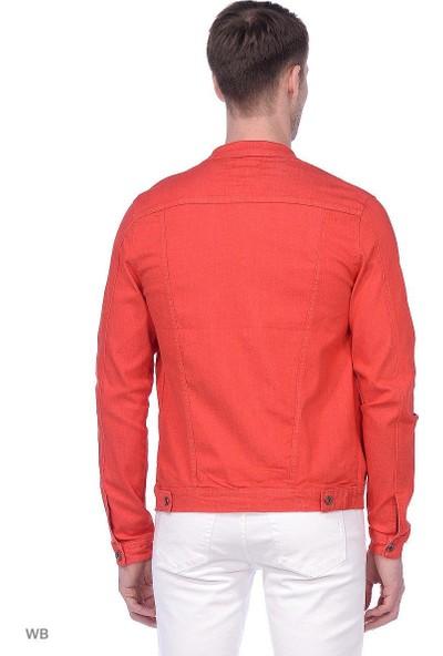 Youtwo Kırmızı Kot Ceket Düğmeli Slim Fit