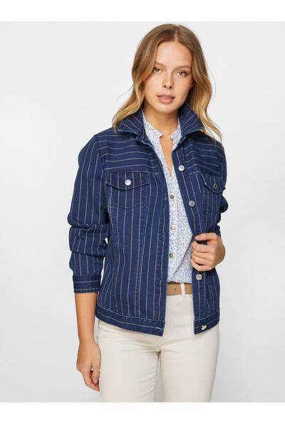 Faik Sönmez Kadın Çizgili Jean Ceket 60441