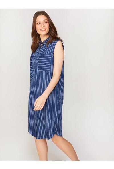 Faik Sönmez Kadın Kolsuz Çizgili Jean Elbise 60454