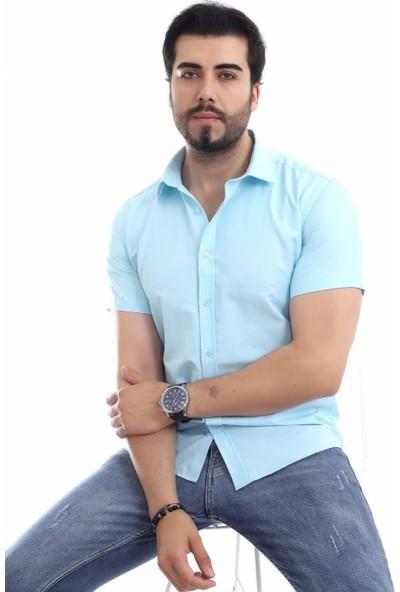 Altegro Slim Fit Kısa Kollu Turkuaz Erkek Gömlek