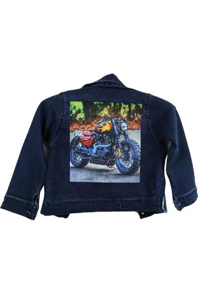 Biricik Erkek Çocuk Miami Arkası Motorcu Baskılı Kot Ceket
