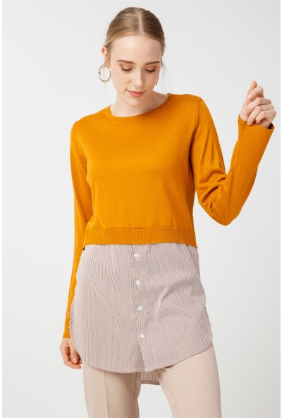 Tığ Triko Çizgili Gömlek Detaylı Triko Tunik