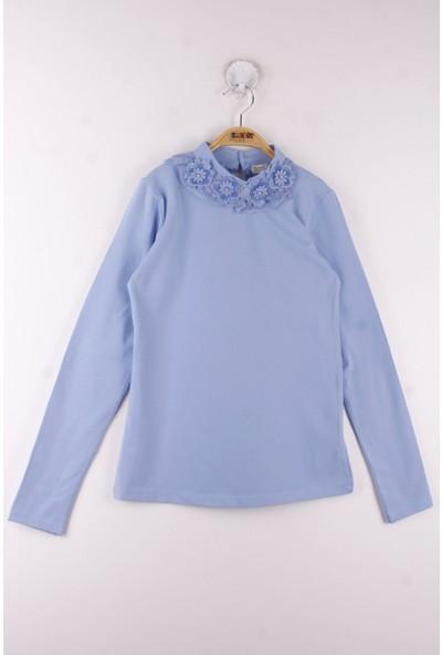 Toontoy Kız Çocuk Yaka Dantelli Okul T-Shirt