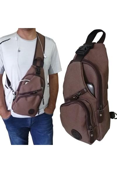 Lederax Usb Girişli Çift Taraf Askılı Göğüs Çantası Bodybag