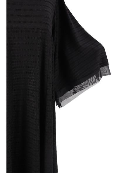 Alexander Gardi Pilili Midi Boy Comfort Kalıp Elbise Siyah (BYN1419-13)