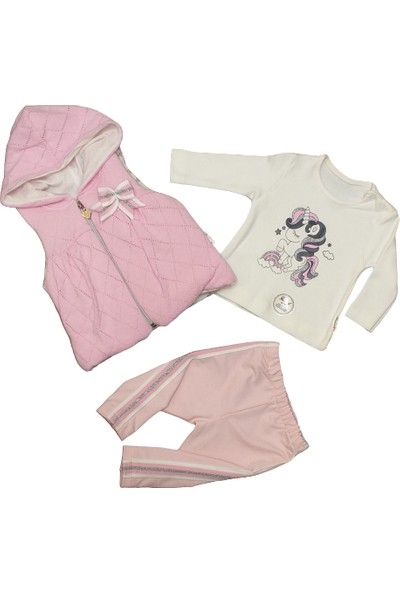Hippil Baby Kız Bebek 3 Parça Yelekli Penye Takım
