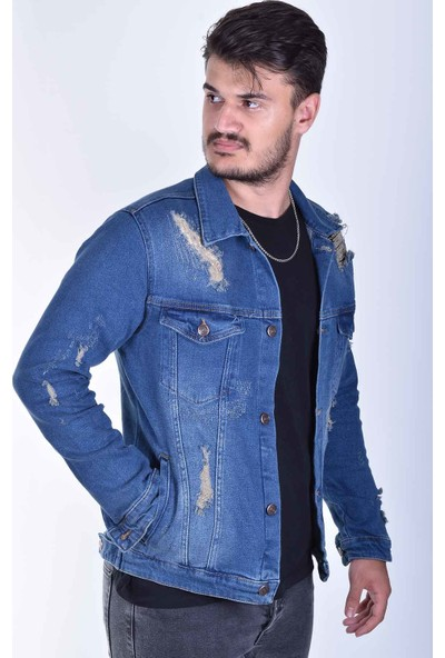 Zenet Jeans Erkek Slimfit Mavi Lazer Yırtıklı Kot Ceket