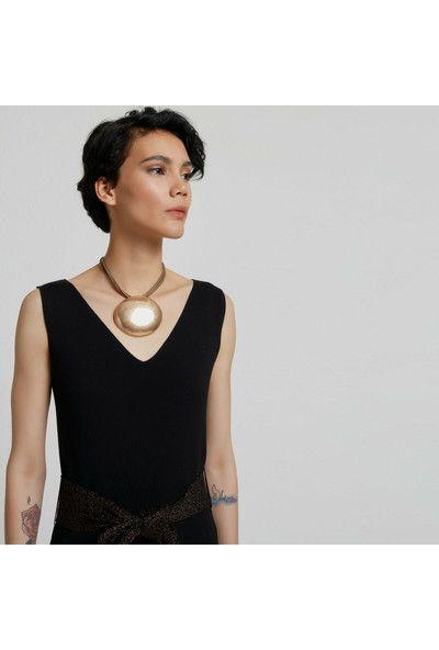 Yargıcı Kadın V Yaka Kolsuz Triko Elbise