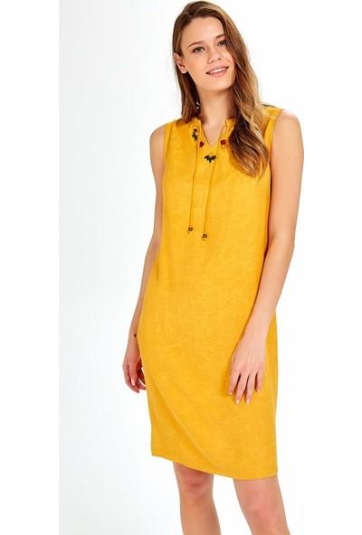 İkiler Yakası Taşlı ve Bağcıklı Kolsuz Elbise 019-04-4069