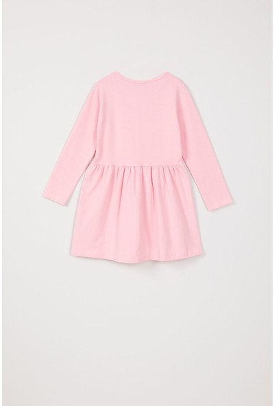 Paty Kids Kız Çocuk Baskılı Elbise Pudra 3 - 4 Yaş