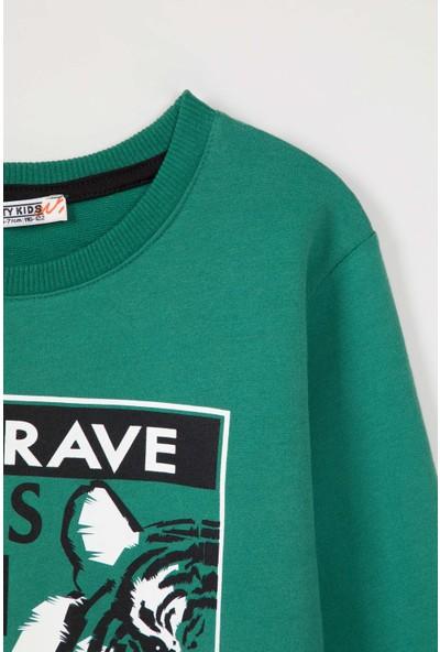 Paty Kids Erkek Çocuk Baskılı Sweatshirt Yeşil 8 - 9 Yaş