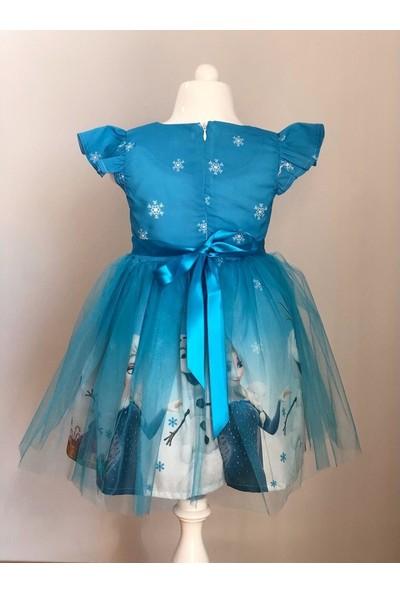 Pumpido Mavi Renk Kız Çocuk Elsa Elbisesi