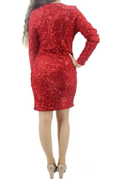 Joy 1204 Pullu Kırmızı Elbise