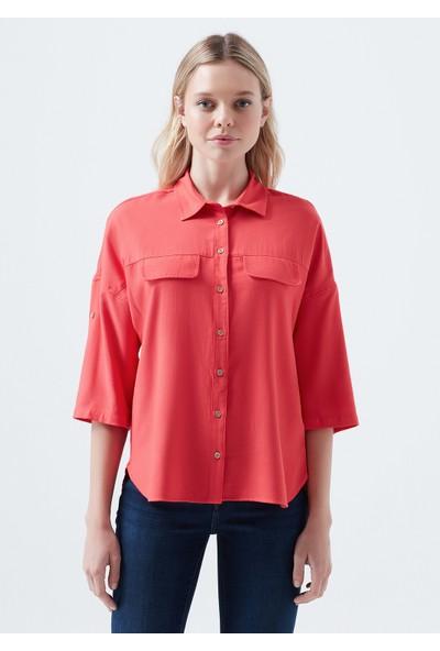 Mavi Cepli Kırmızı Gömlek 121927-32334