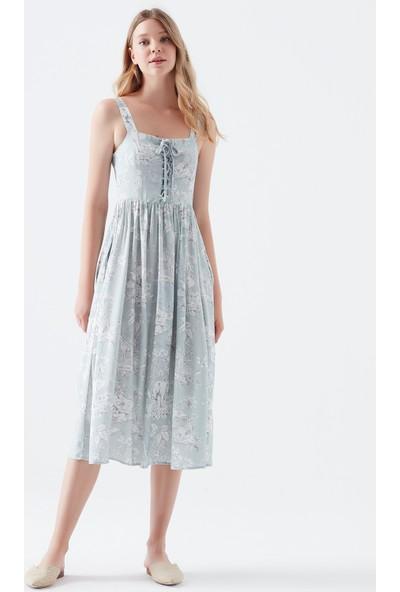 Mavi Kadın Desenli Mavi Elbise 130876-10242